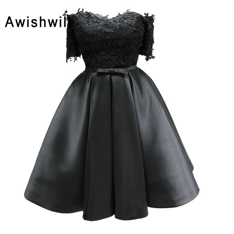 Real Photo Off the Shoulder Lace Satin Black   Cocktail     Dresses   With Short Sleeves Corset Back Graduation   Dresses   for Party