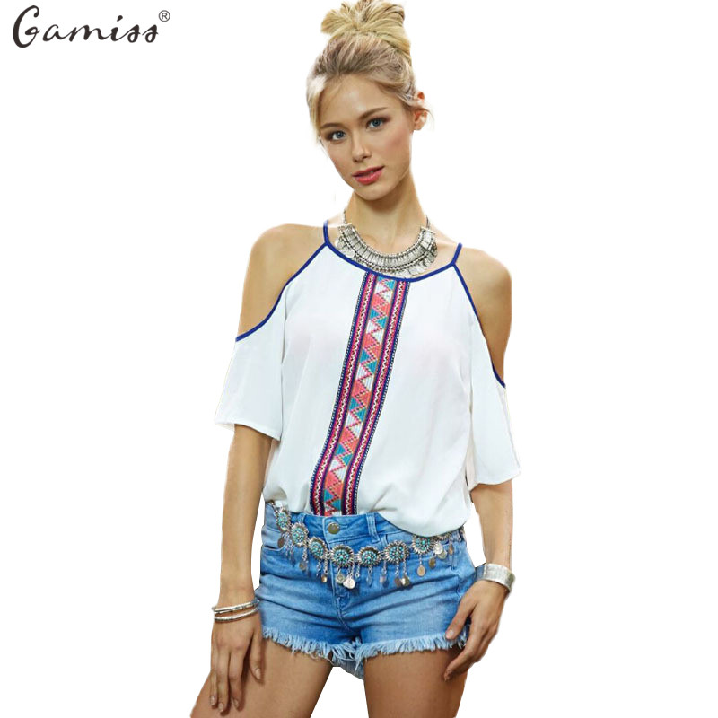Gamiss fashion women chiffon blouses white printed short for Printed short sleeve shirts
