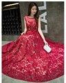 Free shipping Lace O-neck Prom Long Evening dresses A line vestidos de novia robe de soiree vestido de festa longo TK1503