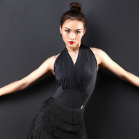 Ballroom Latin Dance Shirt Women Black Tops Adult Stage Rumba Qia Qia Latin Dance Competition Costome Sumba Dance Wear DQS1194