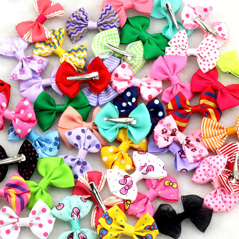 10Pcs/lot New 2.5Ribbon Bow clip Girl little hair top clip Dot/Printed/Solid Bow Hairpin for Baby Children accessories for hair 5 6pcs lot headwear set children accessories ribbon bow hair clip hairpin rabbit ears for girls princess star headdress t2