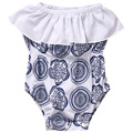 Lovely Baby Girls Romper Newborn Bebes Sleeveless White and Blue Floral Baby Rompers Jumpsuit Outfit Infant Sunsuit 0-18M