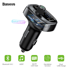 Baseus Bluetooth 4.2 Car Charger Kit FM Transmitter Handsfree Audio MP3 Player 3.4A Dual USB Aux Modulator Mobile Phone Charger baseus bluetooth 4 2 car charger kit fm transmitter handsfree audio mp3 player 3 4a dual usb aux modulator mobile phone charger