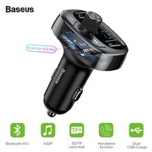 лучшая цена Baseus Bluetooth 4.2 Car Charger Kit FM Transmitter Handsfree Audio MP3 Player 3.4A Dual USB Aux Modulator Mobile Phone Charger
