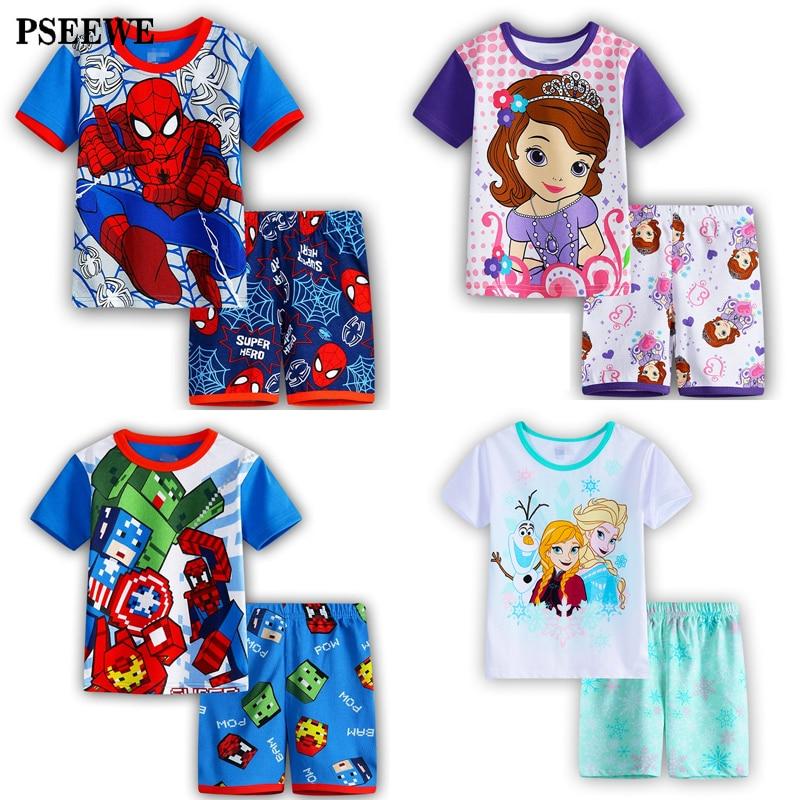 Children's pajamas summer Short sleeved Set Baby Boy Girl Cartoon Spiderman Minnie Lackey children's sleepwear pajamas for kids