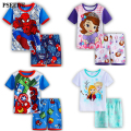 Kids Boys Girls Clothes Baby Pajamas Summer Short Sleeved Set Cartoon Spiderman Minnie Lackey Children's Sleepwear