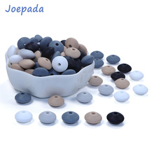 Joepada 300Pcs/lot 12mm Silicone Teething Beads Lentils Abacus Teethers Bead for DIY Baby Pacifier Chain Food Grade Teether
