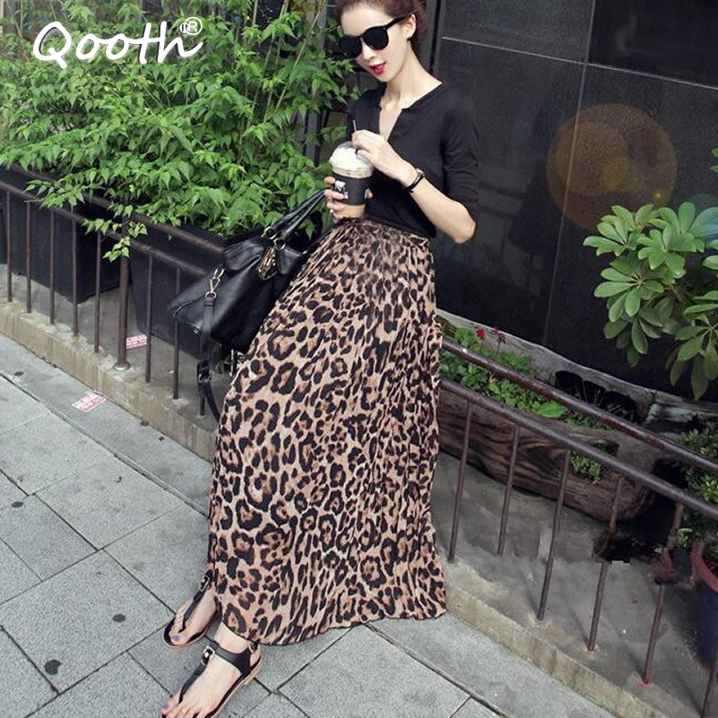 Qooth 2018 Summer Autumn Women Long Leopard Skirt Elastic Waist Chiffon Pleated Skirts Casual Maxi Beach Printed Skirt DF650