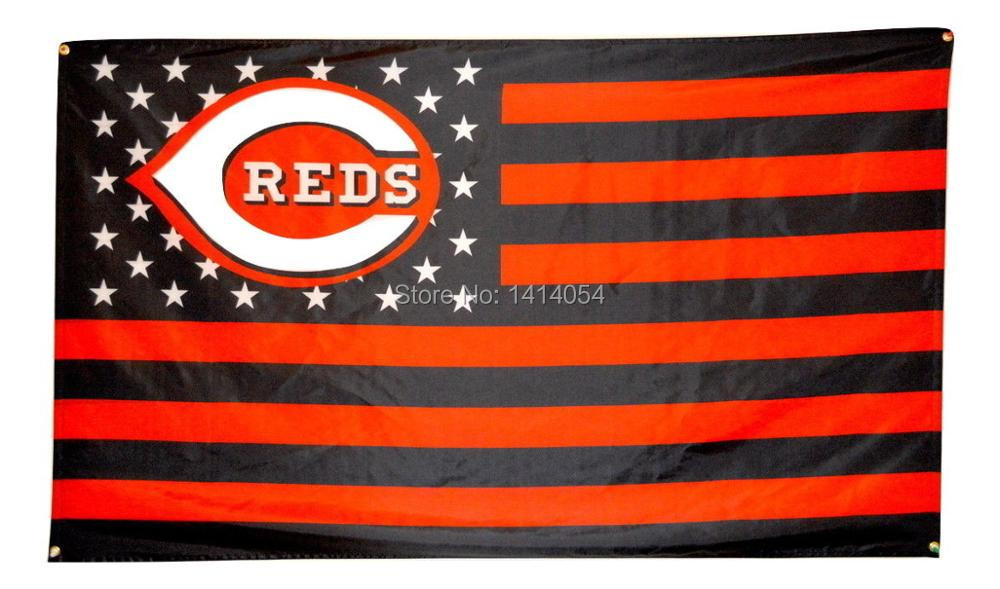 Cincinnati Reds with stripes and stars Flag 150X90CM MLB 3X5 FT Banner 100D Polyester flag grommets009, free shipping