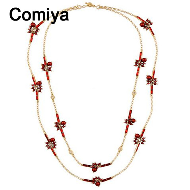 Korean fashion gold plated maxi long statement acrylic pearls double layers necklace women collares mujer bijoux femme necklaces
