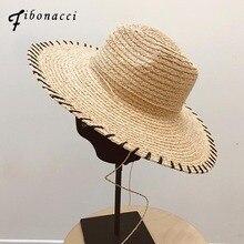 Fibonacci High Quality 12cm Wide Brim Raffia Sun Hat for Women Men Jazz Cap Panama Floppy Summer Straw Beach