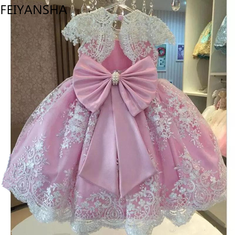 Pink Girls Flower Dresses For Party vestido daminha Pearls Sash Bow Cap Sleeves Flower Girl Dress Lace First Communion Dress цена