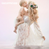 Maternity Photography Props Pregnancy Fancy Dress Lace Robe Strapless Maxi Gown Maternity Dress Split Front Women