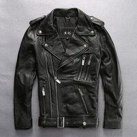 Прочитайте описание! Азиатский размер Мужская натуральная коровья кожа куртка мужская яловая молния Харли Мотоцикл Райдер кожаная куртка