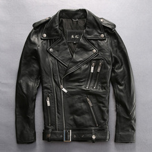 mens genuine cow leather jacket male cowhide zipper harley motorcycle rider leather jacket