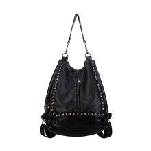 Паста моды дамы рюкзак бренд Для женщин Пояса из натуральной кожи рюкзак женские мотоциклетные складной рюкзак Винтаж школьная сумка HD06