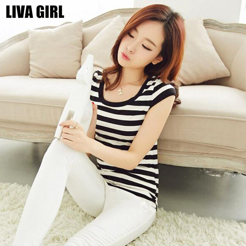 Liva Girl Hot Sale Women Slim Striped T Shirt Black White O Neck Tops Tees Plus