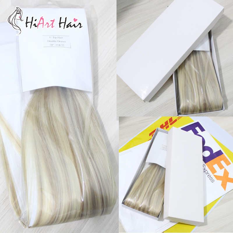 """HiArt волос лента для расширения 100% реального Vigin кутикулы Волосы remy #1 салон Стиль дважды обращается Горячее наращивание волос прямо 18"""" 20 """"22"""""""