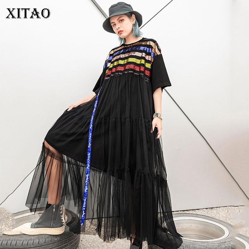 a80109ed9d5  XITAO  для женщин Лето 2019 г. новая корейская мода с круглым вырезом  короткий