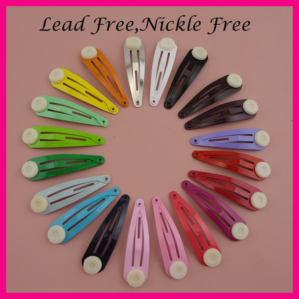 500PCS Assorted Colors 4.0cm 1.5 round head plain metal snap  clips with pad,nickle free,lead free,Kids size hair clips pin DIYmetal  snap cliphair clipsnap clips