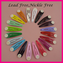 "500PCS Assorted Colors 4.0cm 1.5"" round head plain metal snap clips with pad,nickle free,lead free,Kids size hair clips pin DIY"