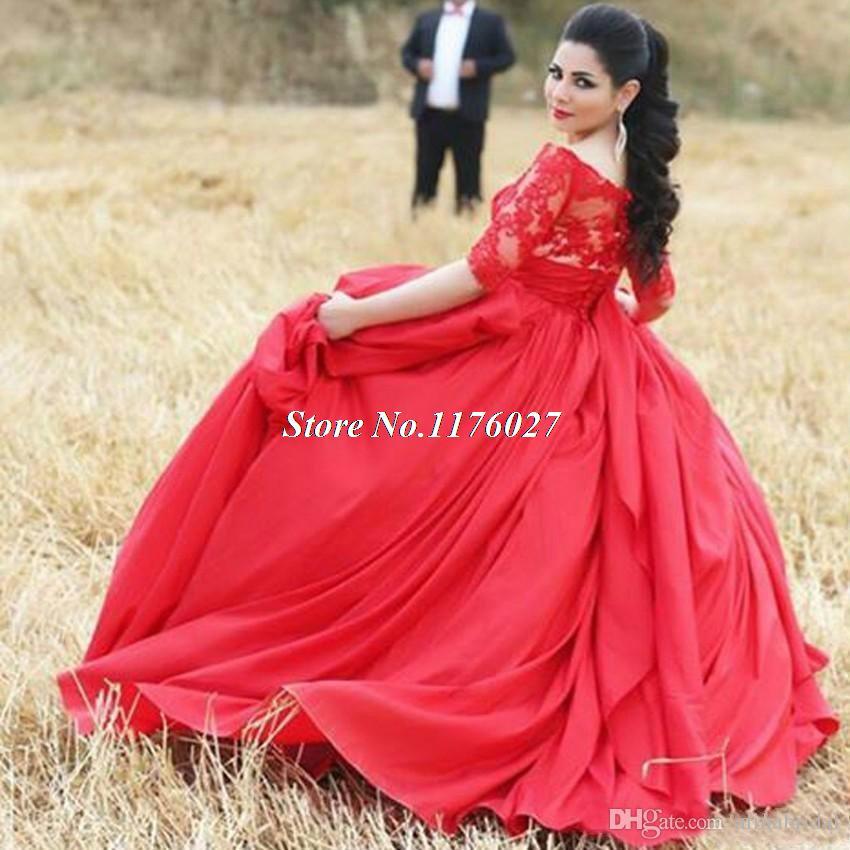 Robe De Soiree 2017 Saudi Arabic Red Ball Gown Long Evening Prom ...