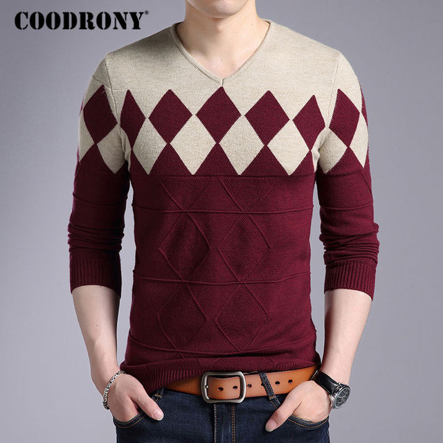 Sweaters Cashmere Wool For Men Elegant Autumn Winter Slim Fit Pullovers Argyle Pattern V-Neck
