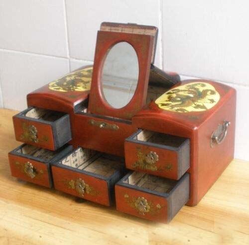 palacio cajones espejo tocador tocador de madera chino dragon phoenix viejochina mainland