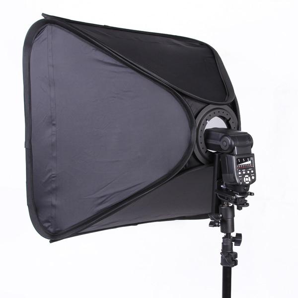 FOTGA Pro Portable 24 Softbox Pour Vitesse Lumière Flash Hotshoe Soft Box Kit 60x60 cm Support
