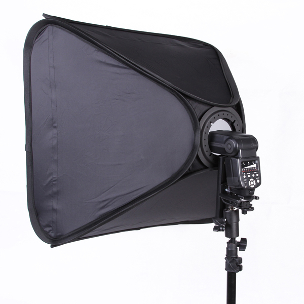 FOTGA Pro Portable 24 Softbox Pour Vitesse Lumière Flash Hotshoe Soft Box Kit 60x60 cm Support