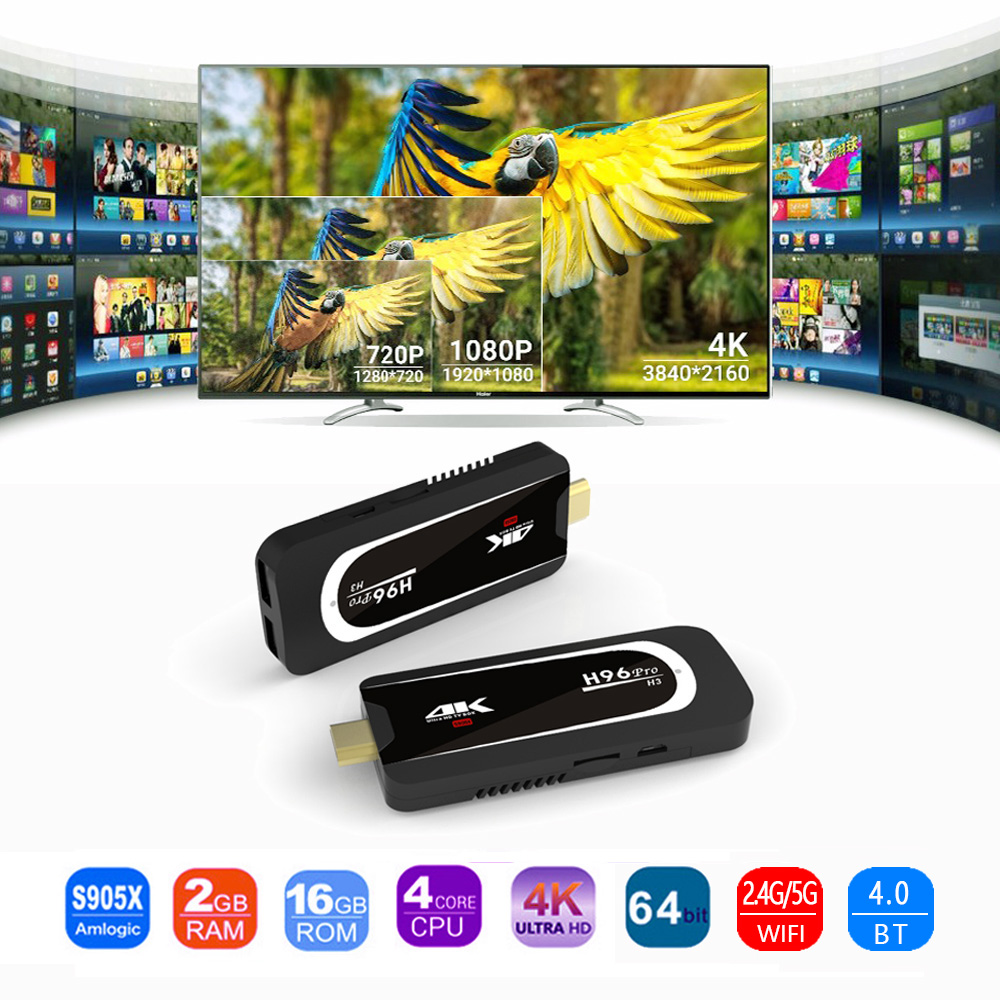 H96 Pro H3 4K Tv Stick Android 7.1 OS Amlogic S905X Quad Core 2G 16G Mini PC 2.4G 5G Wifi BT4.0 1080P HD Miracast