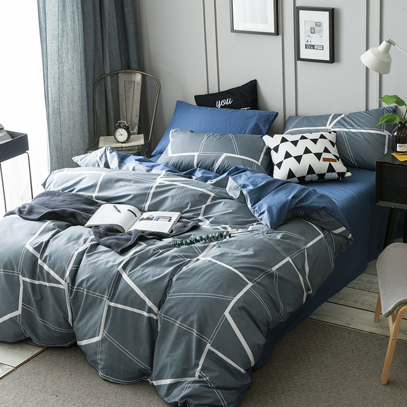 Nice Grey Brief Duvet Cover Set For Men White Stripes Quilt Cover Blue Solid  Color Bed Sheets Pillow Case Cotton 100% Bedding Queen In Bedding Sets From  Home ...
