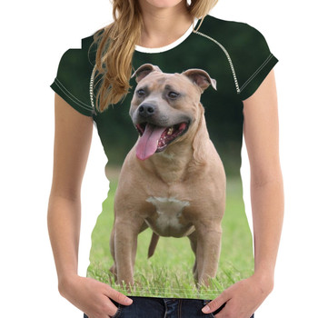 Animal Terrier O Marca Mujer Camisetas De Imprimir Ropa American Cool Bull Staffordshire Tees Short Cuello Camiseta 3A45LjRq
