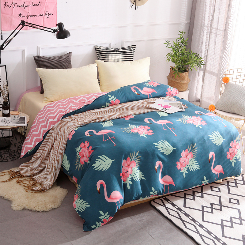 100% Cotton Duvet Cover Twin Full Queen King Size Cartoon Quilt Cover 1 Piece Pink Flamingo Blue Comforter Cover High Quality ...