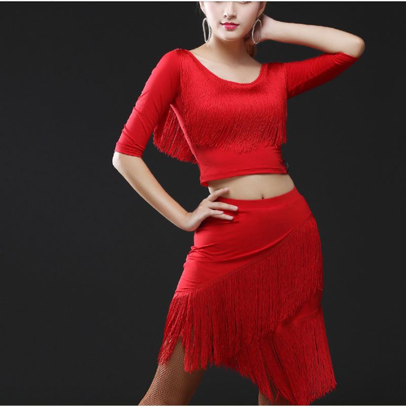 New Latin Dance Skirt Adult Female Rumba Samba Tango Ballroom Latin Tap Dance Dress Women Stage Costume Performance Tassel Skirt