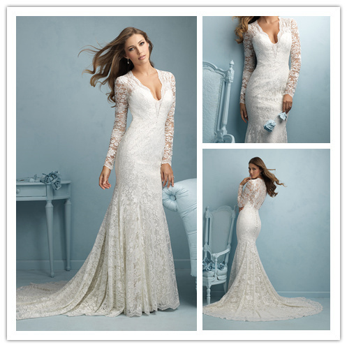 RomanticElegant Nude Back V Neck Long Sleeve Wedding Dresses Lace ...