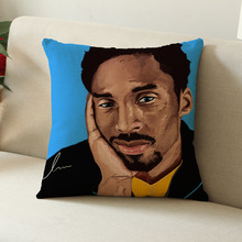 Modern Decorative NBA Basketball Star Kobe Bean Bryant Los Angeles Lakers Printed Linen Sofa Car Cushion Cover Throw Pillow Case