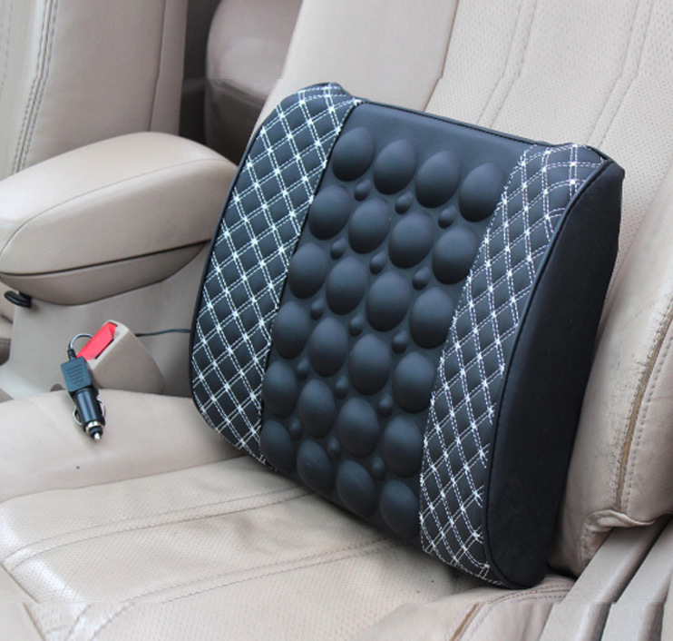 Oreiller de soutien lombaire de voiture Anti-haute température 12 V Massage électrique oreiller lombaire siège de voiture Relaxation du dos taille reste oreiller