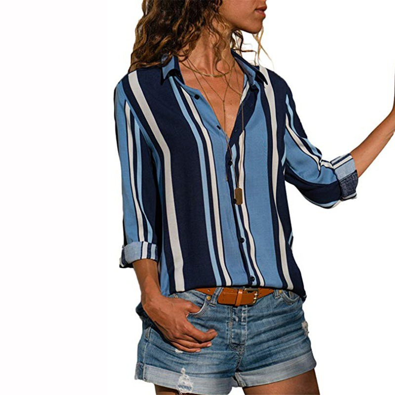 2018 Autumn Women Blouse Long Sleeve Casual Striped Blouses Shirts Female Turn-down Collar Button Top Fashion Clothing