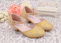 2017Hot sale girls princess shoes Summer breathable sandals Rhinestone mid heel single shoes kids leather sandal Children shoes