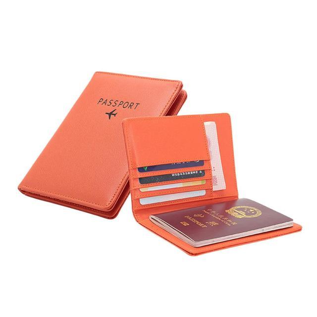 Porte Carte Femme en Cuir Orange Pas Cher