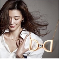 Rose Gold Plated Cute Crystal Bow Choker Necklace 2015 New Arrival Titanium Steel Woman Jewelry Birthday