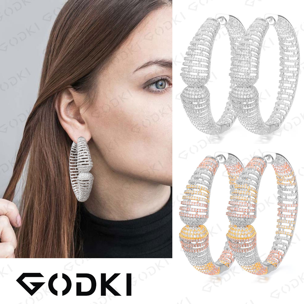 GODKI Luxury Circle Hollow Cubic Zirconia Statement Big Hoops Earrings For Women Wedding DUBAI Bridal Round Circle Hoop EarringGODKI Luxury Circle Hollow Cubic Zirconia Statement Big Hoops Earrings For Women Wedding DUBAI Bridal Round Circle Hoop Earring