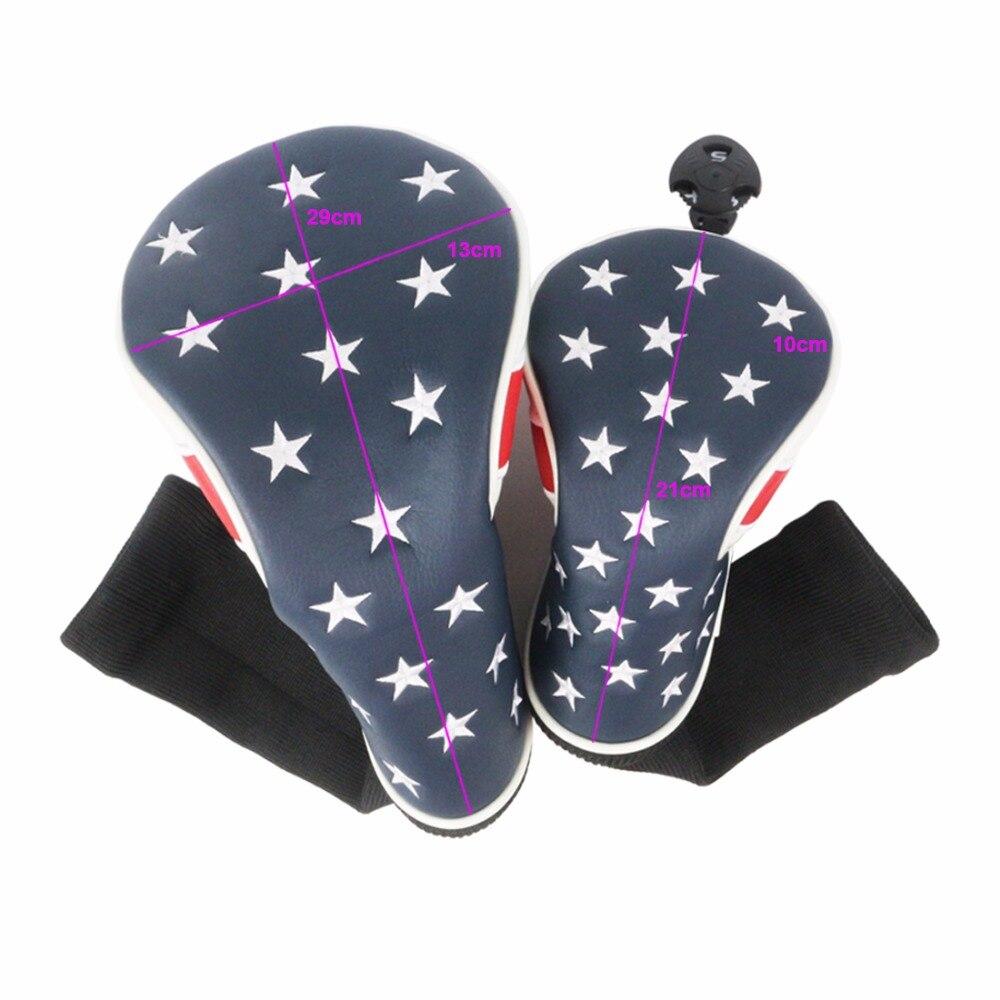 Флаг США Гольф головных уборов для 1 # водителя шлем, 3 #, 5 # Фарватер деревянная крышка с 1 компл. Бесплатная клип и маркер бесплатная доставка