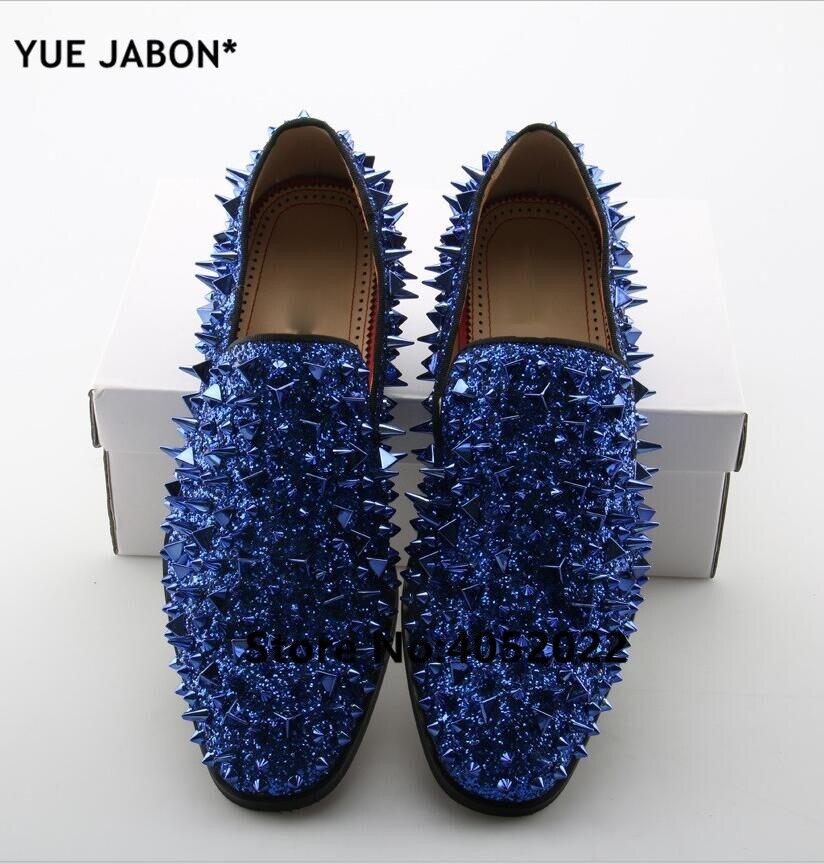 YUE Jabon luxe Designer chaussures hommes décontracté appartements rouge noir or argent cuir chaussures de mariage Rivet clouté à pointes mocassins hommes - 6