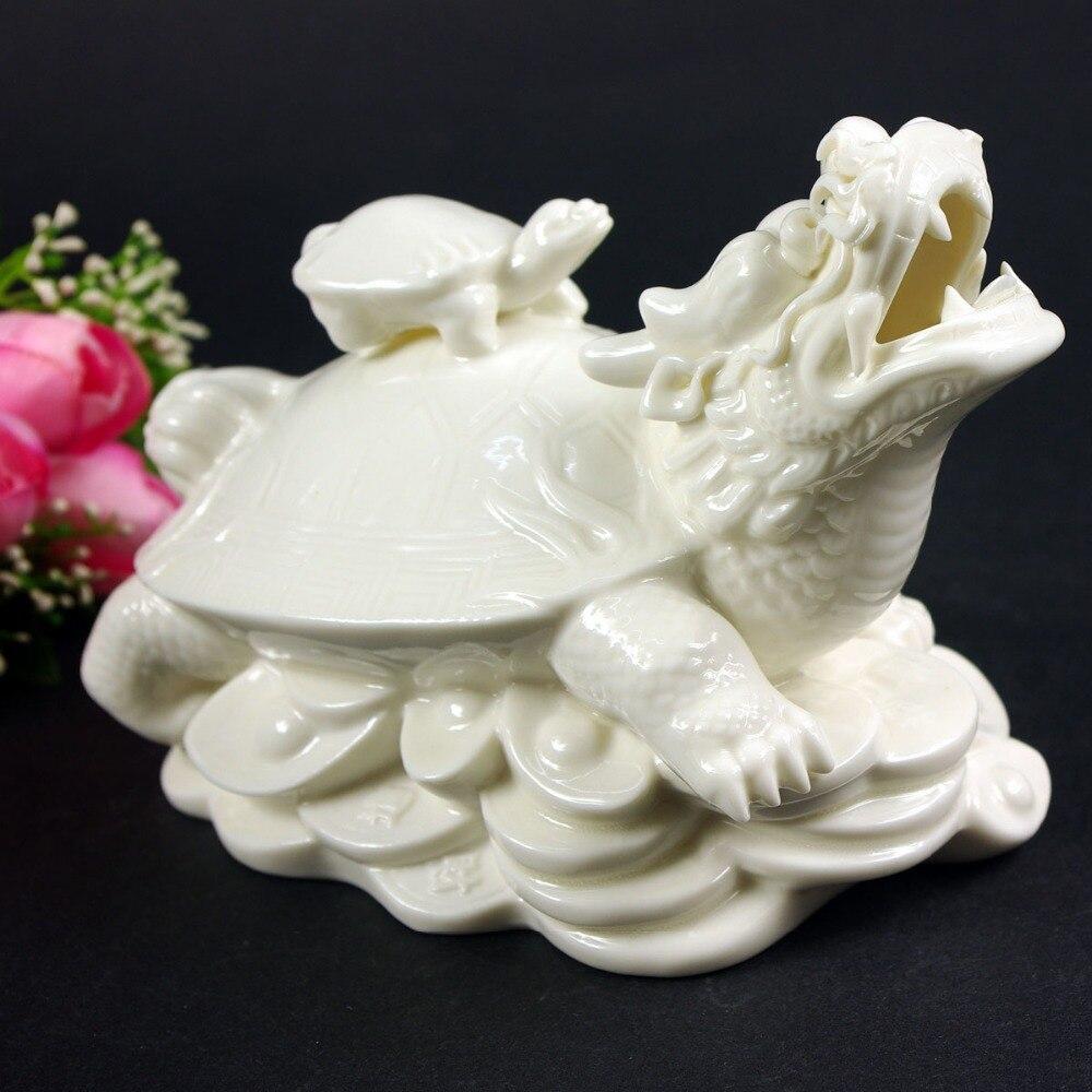 Statue de décoration exquise de tortue de Dragon en porcelaine blanche chinoise intéressante