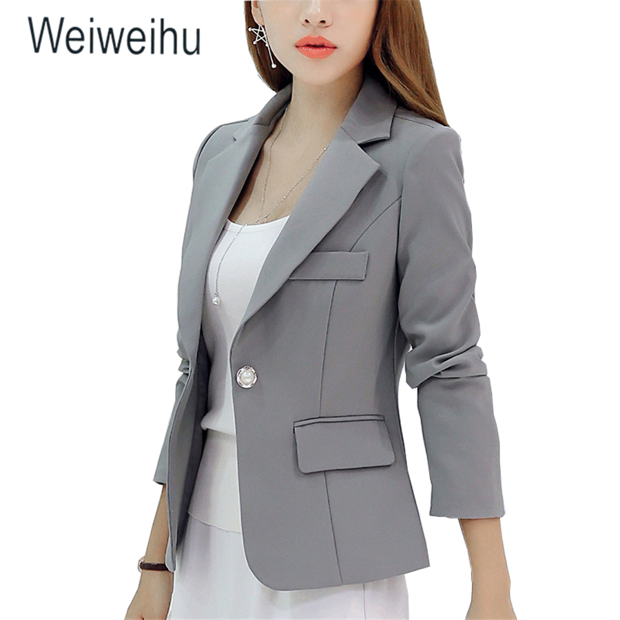 Women Jacket Blazer Slim Fit 2019 Long Sleeve Single Button Coat Office Lady Jacket Female Notched Tops Blazers Feminino Outwear