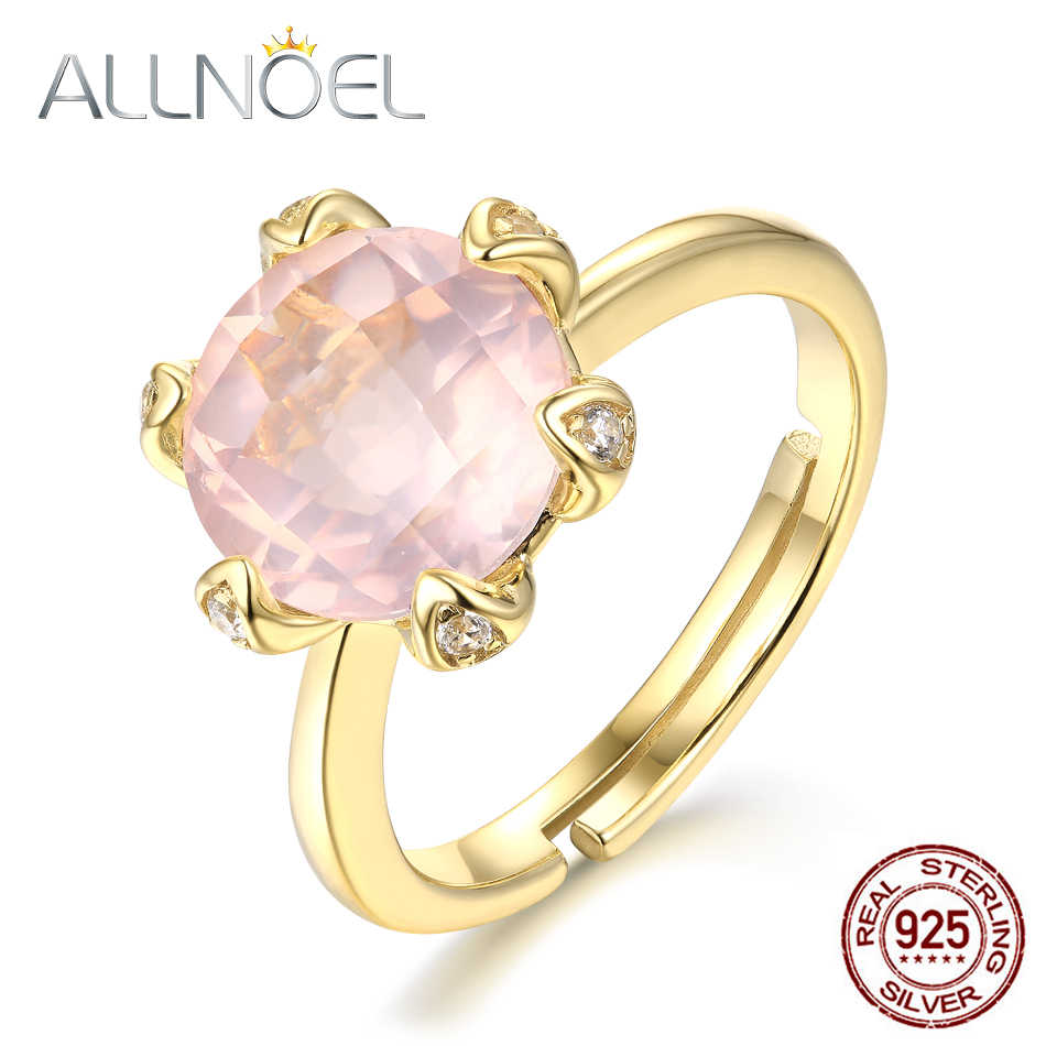 ALLNOEL Real 925 Sterling Silver Rings For Women Natural Gemstone Rose Quartz Ring Resizeable Wedding Bands Gift On March 8 Hot