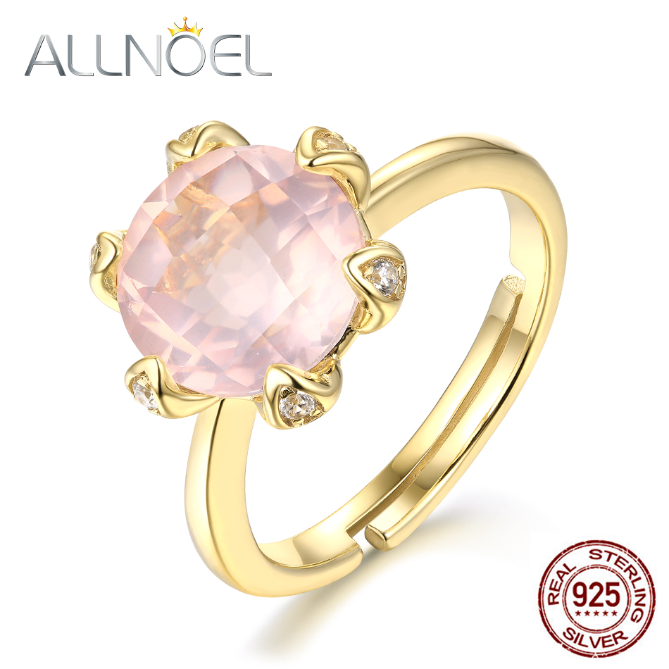 Allnoel Actual 925 Sterling Silver Rings For Ladies Pure Gemstone Rose Quartz Ring Resizeable Marriage ceremony Bands Reward For March 8