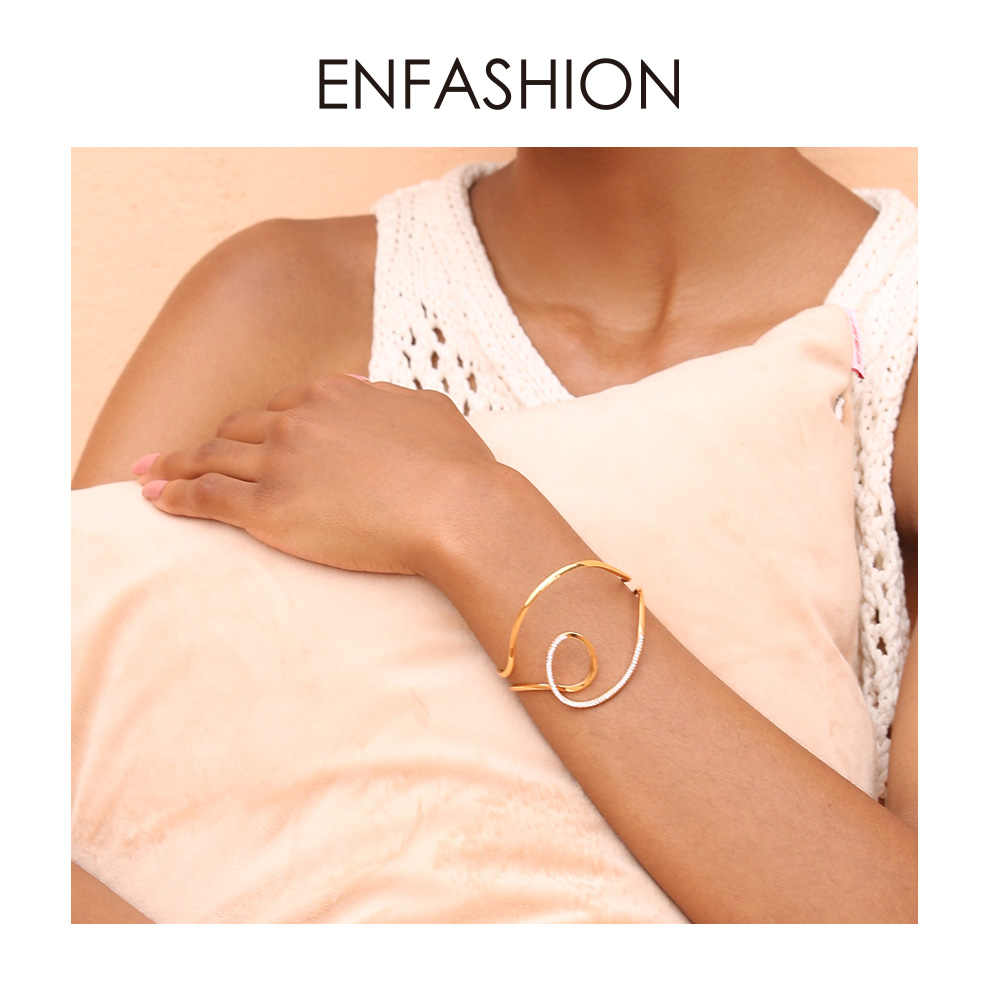 ENFASHION Wave Curve Wide Bangle Boho Open Cuff Bangles For Women Statement Bracelets Jewelry Fashion Accessories 2019 BF192010